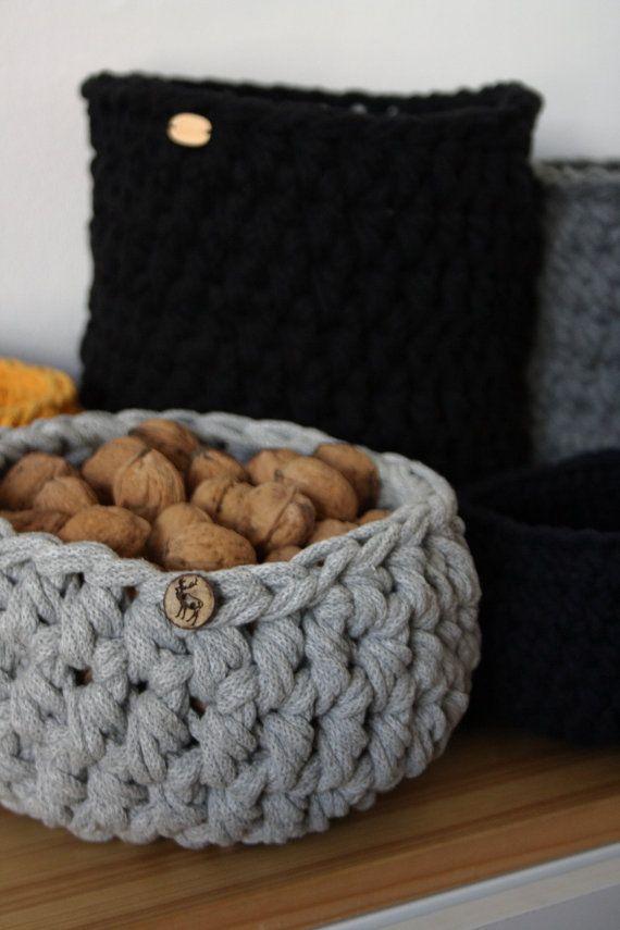 Simple cotton cord basket Reindeer storage basket by CreamKnit