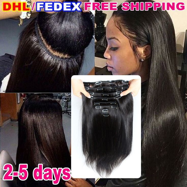 Murah 7A perawan brasil lurus klip dalam ekstensi rambut manusia untuk perempuan kulit hitam remy rambut manusia klip di menenun warna 1b hitam