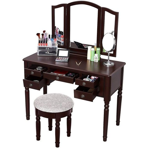 SONGMICS Vanity Set Tri-folding Mirror Make-up Dressing Table... ($210) ❤ liked on Polyvore featuring home, furniture, tables, brown's furniture and brown table