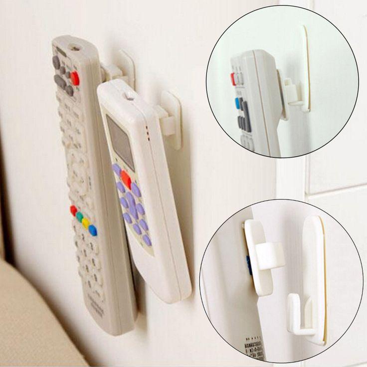 2Set(4Pcs) Sticky Hook Set TV Air Conditioner Remote Control Key Practical Wall Storage Plastic Hooks Holder Strong Hanger