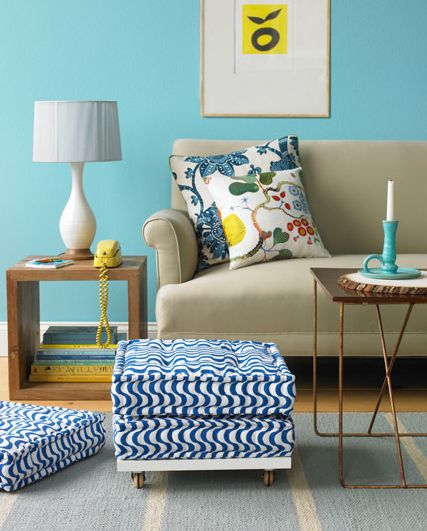 diy ottoman out of floor cushionsWall Colors, Ideas, Side Tables, Living Rooms, Blue Wall, Floors Cushions, Floors Pillows, Diy, Floor Cushions