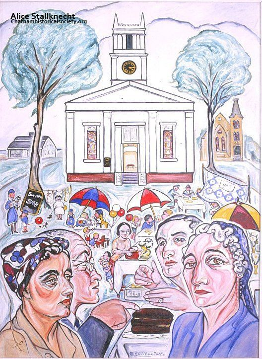 "From Alice Stallknecht's mural ""Every Man to His Trade."" Photograph of first Stallknecht oil portrait for the ""Every Man to His Trade"" mural. On the top left showing people at the Methodist Church. Pictured from left to right: Harriet Keene, Dr. Carrol Keene, Barbara Eldredge, Marion Ellis, Nora Harding, Chatham, MA. #chatham, #alicestallknecht, #atwoodhouse, #chathamhistoricalsociety, #mural, #muralbarn, #capcod"