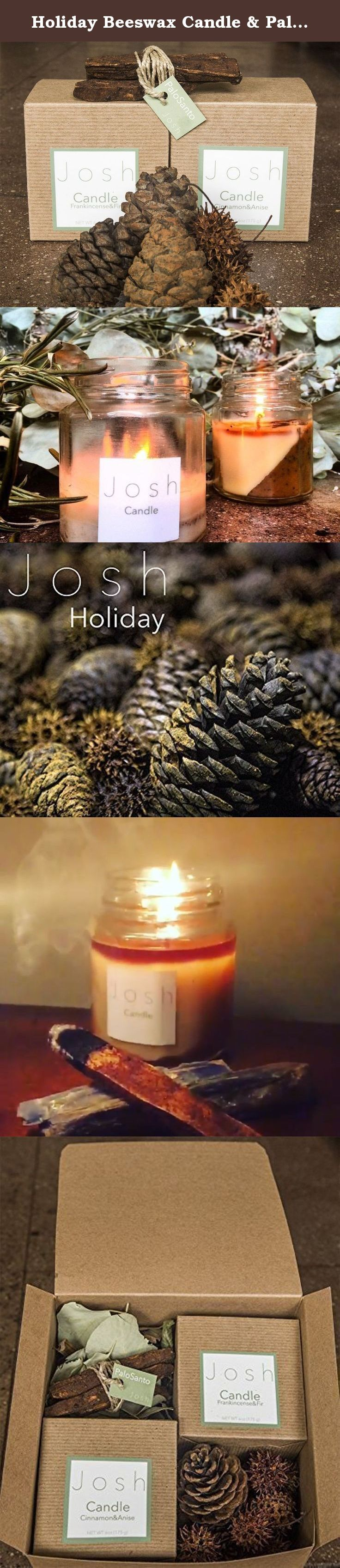 Holiday Beeswax Candle & Palo Santo Set with scented Pinecones and Pods ($27 savings). Frankincense&Fir Beeswax 6oz 50+hour burn candle Cinnamon&Anise Beeswax 6oz 50+hour burn candle 3 Palo Santo sticks treated with frankincense and sandalwood Scented Pinecones&Pods.