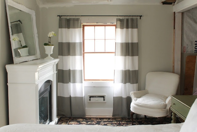 digging the wall color in combination with the striped curtains
