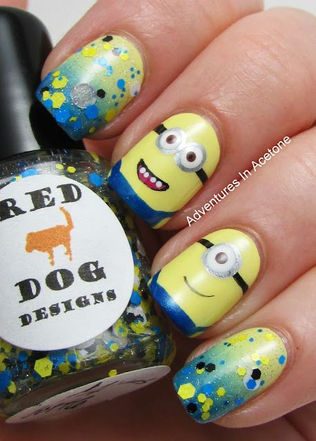 Adventures In Acetone: Tutorial Tuesday: Minion Nail Art!  #nailart #nails #manicure