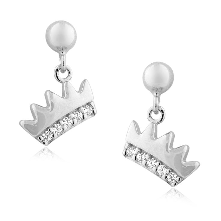 Tiara Crown Earrings in 14k White Gold with CZ