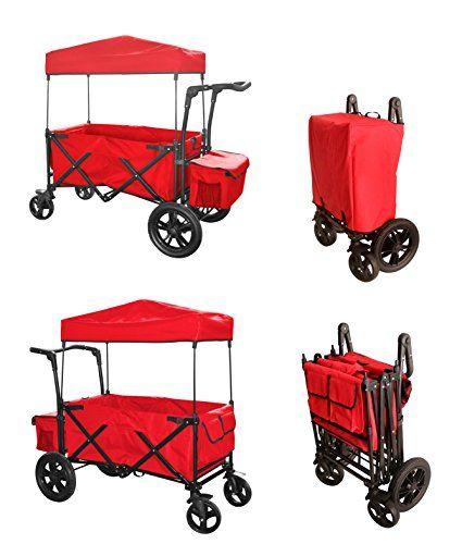 RED PUSH HANDLE / FOOT BRAKE FOLDING WAGON BABY STROLLER UTILITY CART