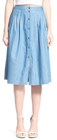 ASTR Button Front Midi Skirt