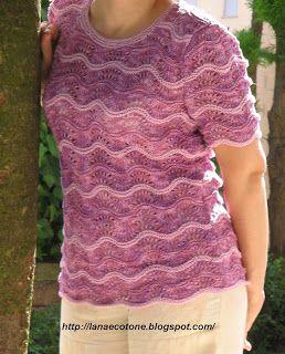 Lana e Cotone (maglia e uncinetto): Maglia con punto pavone