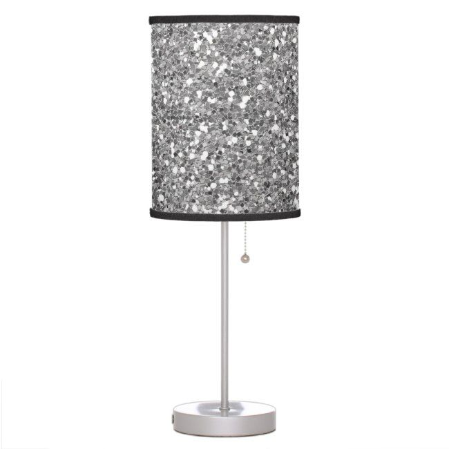 Silver Glitter Look Sparkle Glam Sequin Table Lamp Zazzle Com Lamp Table Lamp Glitter Lamp