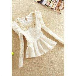 $12.85 #Retro Sequined Pan Collar Long Puff Sleeves Peplum Lace #Blouse For #Women