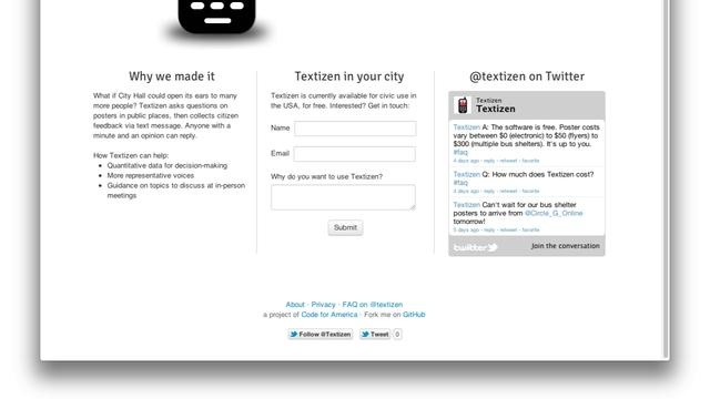 Textizen - Citizen feedback for the digital age. by Code for America.