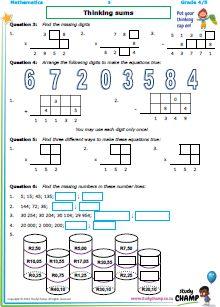 Workbooks - Grade 4 - Mathmatics : Thinking Sums Workbook