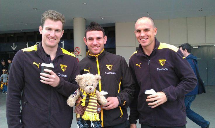 2012 LJ Bear meets Xavier Ellis, Brent Guerra and Cameron Bruce Etihad Stadium Western Bulldogs v Hawthorn