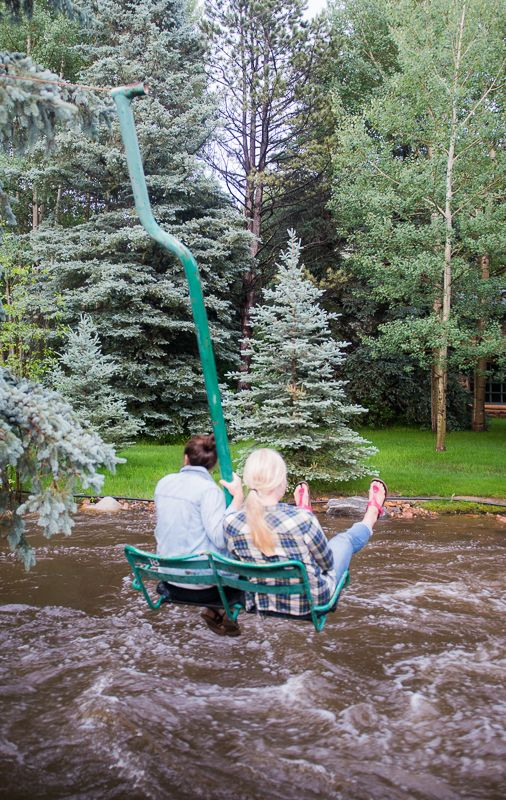 Ski lift swing over Bear Creek in Evergreen, Colorado
