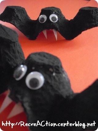 fabriquer chauve souris boite oeuf halloween