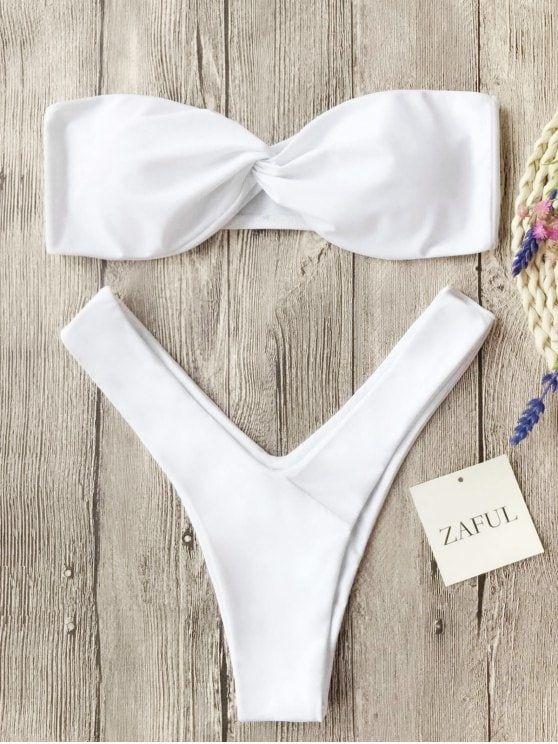 26ca48704193 Twist Front Bandeau Thong Bikini | ZAFUL BIKINI | Bikinis, Zaful ...