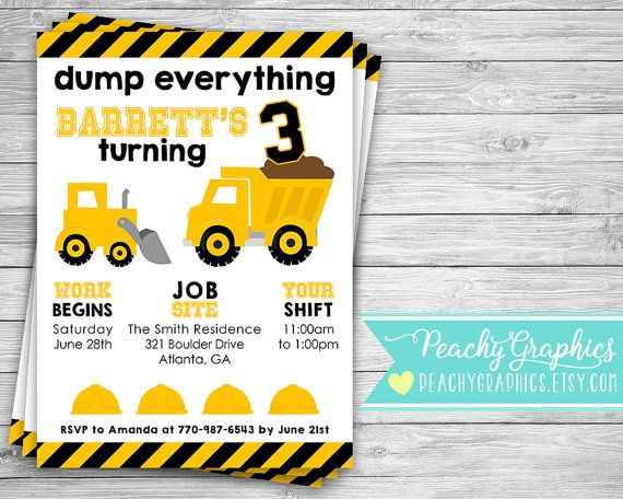 Printable Construction Invitation Dump Truck Birthday Party Invite