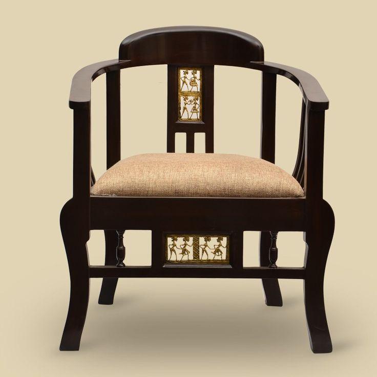 Teak Wood Maharaja Chair With Dhokra Work | #simple #Furniture #Seating #simple, #Furniture, #Seating,