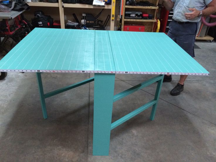 Homemade Fold Away Craft Table With Measuring Tape On The