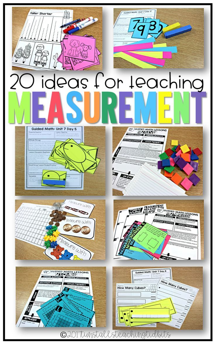 "Hands-on math measurement lessons, ideas, activities, and centers for non-standard and standard measurement.  20 ways for teaching measurement for kindergarten, first grade, and second grade!  To learn more about ""20 Ideas for Teaching Measurement"", visit www.tunstallsteachingtidbits.com"