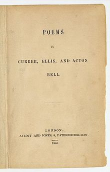 1846 issue of Bronte poems under the pseudonyms of Currer (Charlotte), Ellis (Emily) and Acton (Anne) Bell