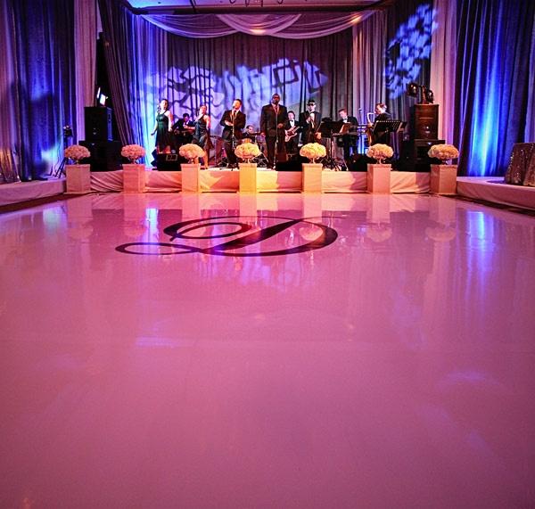 Love the dance floor with stickered monogram
