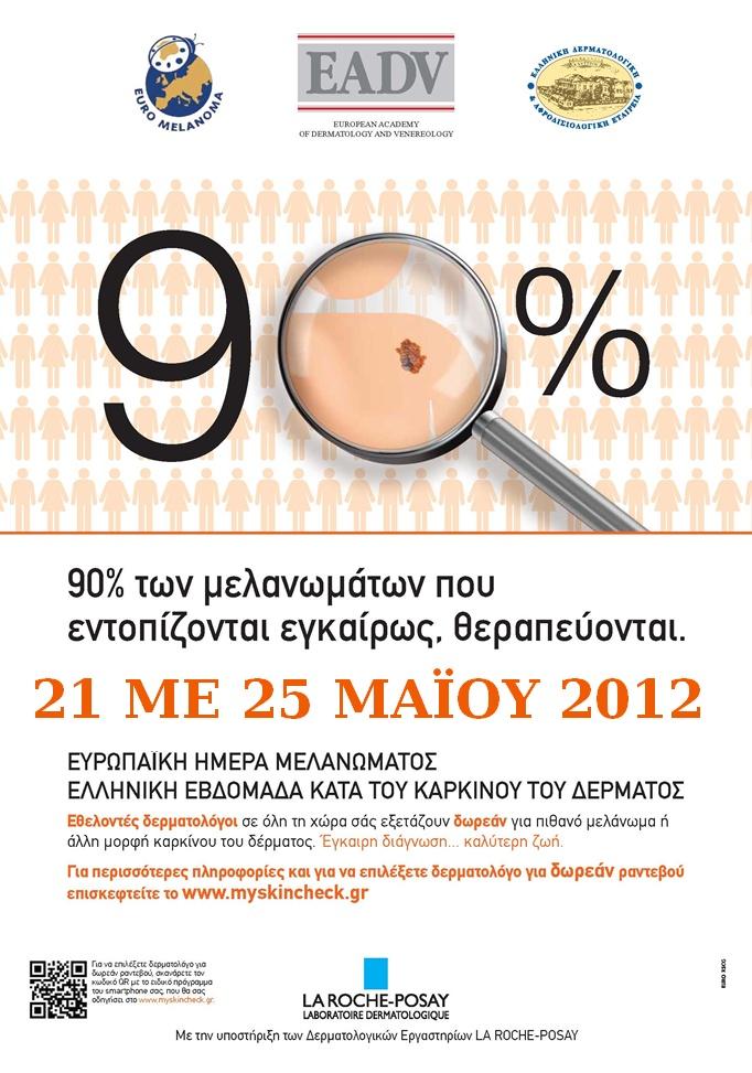 Δωρεάν εξετάσεις μελανώματος μέχρι τις 13 Μάη  / Με την Χορηγία Υποστήριξης : e-Charity.gr