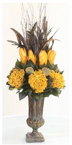 Bellamy Yellow Botanical Arrangement Urn. Organic elegance: expertly preserved botanicals. DesignNashville.
