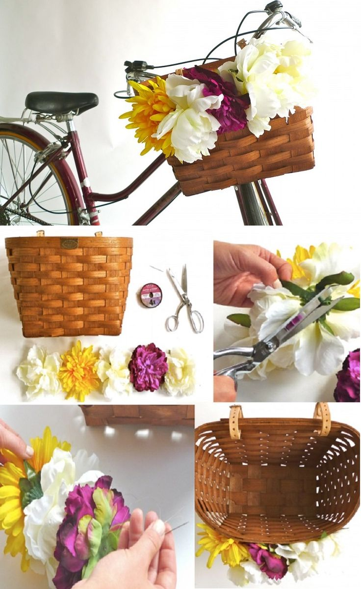 D.I.Y. Bicycle Basket Flower Garland - 15 Chic DIY Ideas to Update Your Bike | GleamItUp
