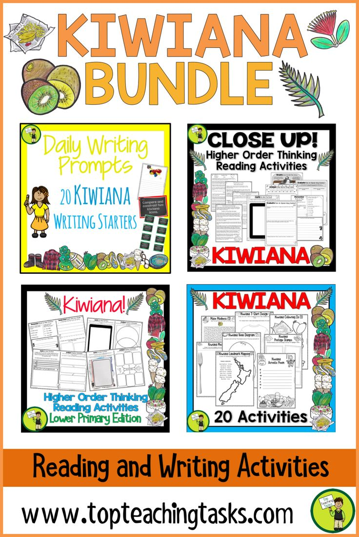 Dive into the kiwi culture with our KIWIANA literacy pack: a bundle of fantastic kiwiana-themed literacy resources featuring Reading, Writing, and other activities! Perfect for the NZ (New Zealand) classroom. This bundle features reading comprehension passages and activities with higher order thinking throughout. Also, a range of creative print and go activities and a set of kiwiana writing samples! #kiwiana #kiwianaactivities #kiwianaactivitiesforkids