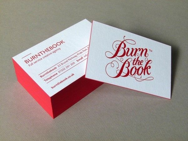Burn The Book - letterpress business card