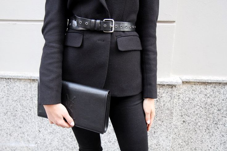 Belt + Jacket + YSL Clutch = nice combo!