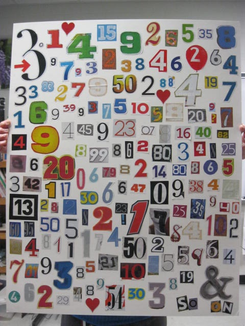 My co-worker who teaches math created this collage with 200 digits of pi.  Very cool, Brenda!