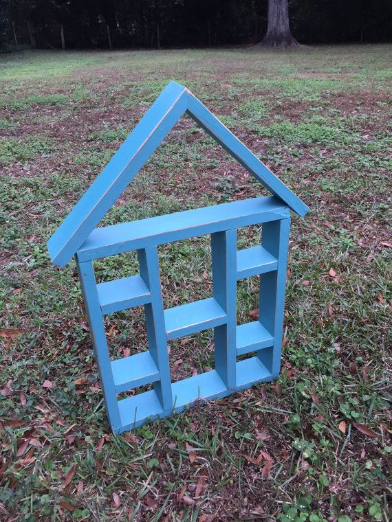 Shabby Chic Wooden Curio Turquoise Shelf Decor by CnCVintageFinds