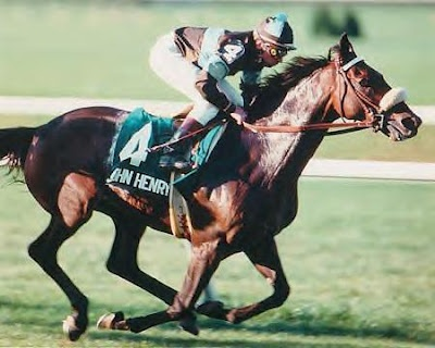 John Henry (March 9, 1975 – October 8, 2007) was an American Thoroughbred race horse who had 39 wins, with $6,591,860 in earnings. He was twice voted the Eclipse Award for Horse of the Year in 1981 and 1984, with his 1981 selection the only one in which the victor received all votes cast for that award. In all, he won seven Eclipse awards. John Henry was also listed as #23 - Top 100 U.S. Racehorses of the 20th Century.