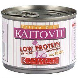 """Aus der Kategorie Nassfutter  gibt es, zum Preis von EUR 1,95  <p><font face=""""Arial, Helvetica, sans-serif"""" size=""""2"""">Sie erwerben den folgenden Artikel:</font></p> <p align=""""center""""><font face=""""Arial, Helvetica, sans-serif"""" size=""""4""""><b>Kattovit Low Protein Huhn ,Futter, Tierfutter</b></font></p> <p><font face=""""Arial, Helvetica, sans-serif"""" size=""""2""""><b>Artikelbeschreibung:</b> <p>NIERENDIÄT (low protein) versorgt die Katzen mit einem reduzierten Eiweißgehalt. Hohe Eiweißgehalte können sich…"""