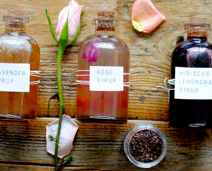 Imagine the bespoke cocktail possibilities with these three DIY floral syrup concoctions - hibiscus lemongrass, lavender and rose - from Purely Elizabeth!
