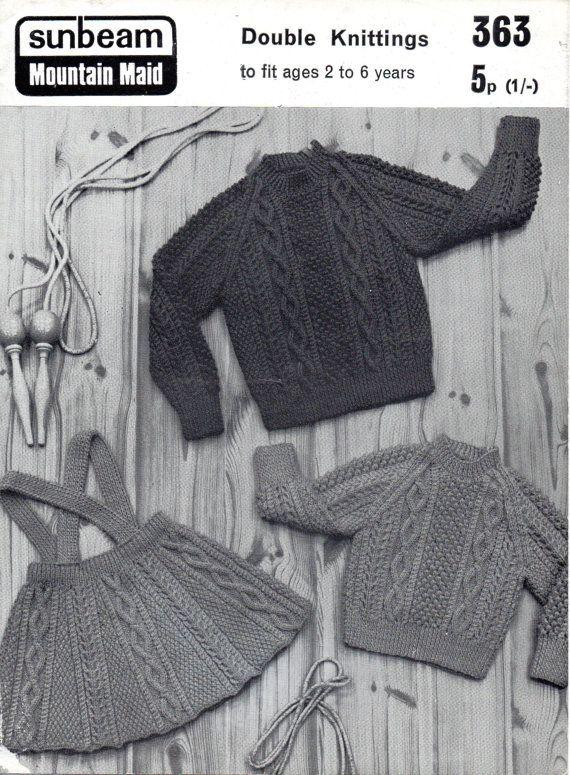 Childs aran stitch skirt and jumper