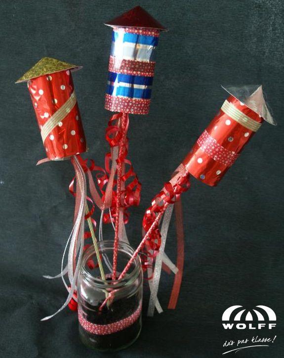 Vuurpijlen, leuk om nieuwjaarswens aan te hangen