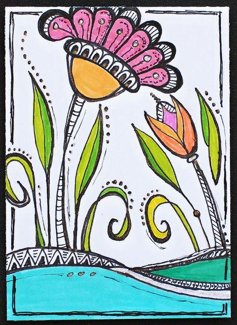 Floral Landscape Design Inspired By Zenspirations Joanne Fink Pigma Micron Pens Tombow Markers Sakura Gel On White Cardstock