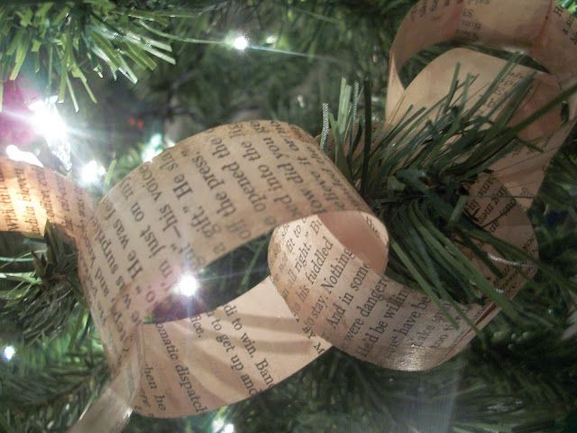 Old book tree garland - theme idea for literary Christmas party (there are also instructions out there for trees and angels made from old books)