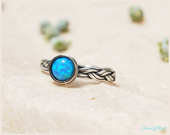 blue opal ring. gemstone ring. unique silver ring. silver braided ring op Etsy, $57.00