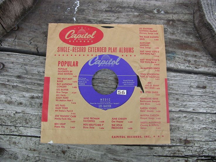 Vintage Single 45 Record Les Baxter Medic Unchained Melody Capitol Records F3055 #1950s