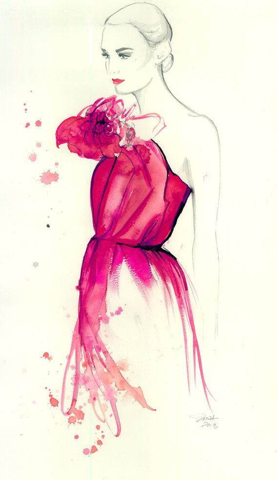 Time to Blossom, Original watercolor and mixed media fashion illustration by Jessica Durrant on Etsy, $425.00