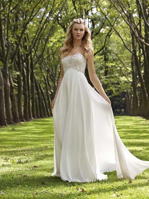 A-line/Princess Hjärtformad Court Släp rmlös Bärlbroderi Chiffong Wedding Dresses