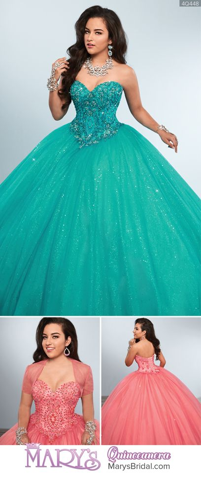 Style 4Q448: Sparkling tulle quinceanera ball gown with strapless sweetheart neck line, basque waist line, beaded bodice, lace-up back, and sheer bolero. From Mary's Quinceanera Fall 2016 Princess Collection