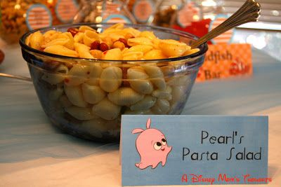 A Disney Mom's Thoughts: Finding Nemo First Birthday Party Food, Pear's Pasta Salad with seashell pasta