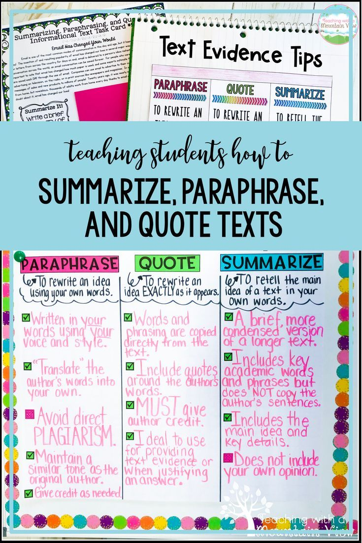 Summarizing Paraphrasing And Quoting Text Teaching With A Mountain View Anchor Chart Nonfiction Summary Quotation Paraphrase