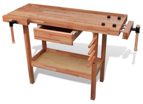 Wooden-Work-Bench-Diy-Workbench-Garage-Work-Table-Stand-Storage-Tools-Drawer-New